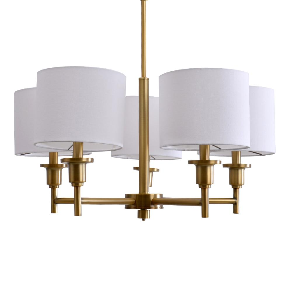5-Light Brass Chandelier with White Linen Shades