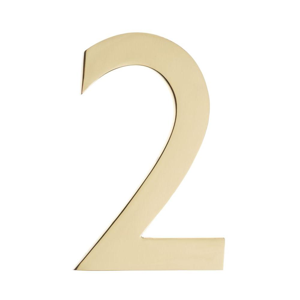 Architectural Mailboxes 5 in. Polished Brass House Number ...