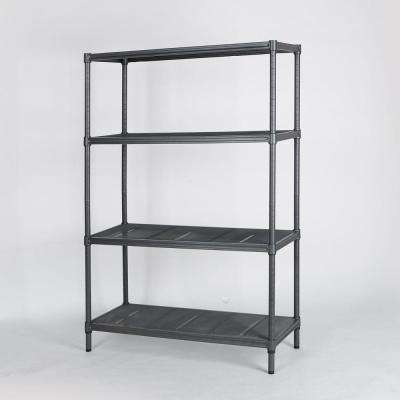 35-2/5 in. W x 47 in. H x 13-4/5 in. D 4-Tier Mesh Shelving Unit in Gunmetal