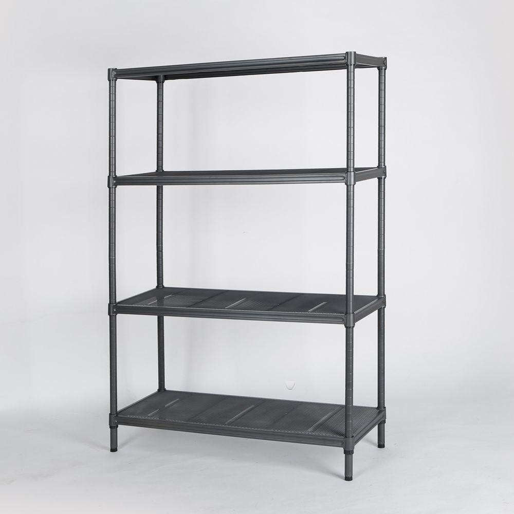 mesh shelving systems hdx 4 tier mesh shelving unit in gunmetal sl mshd 64 the home depot 6952