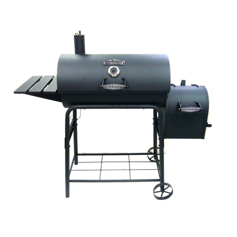 RiverGrille Cattleman 29 in. Charcoal Grill and Smoker in Black