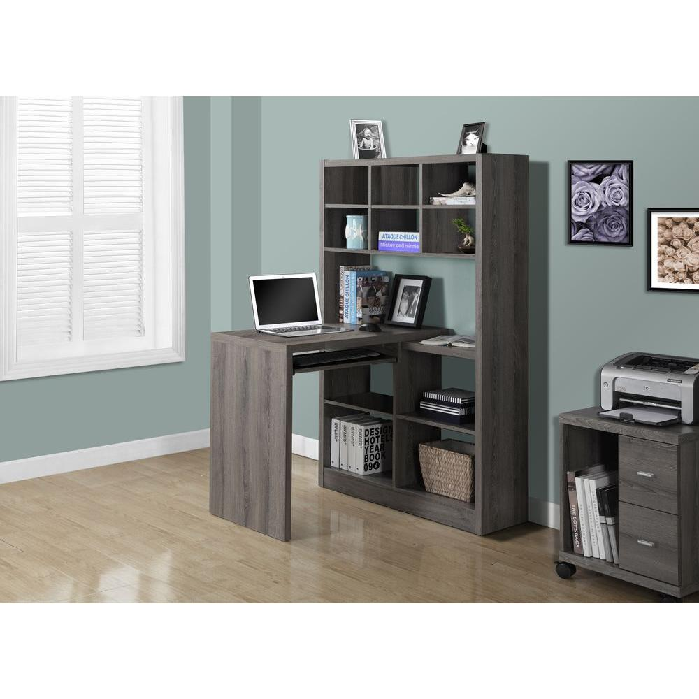 Monarch Specialties 2 In 1 Piece Dark Taupe Office Suite