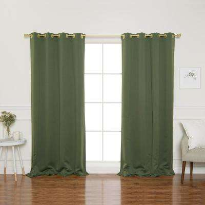 Gold Grommet 84 in. L Triple Weave Blackout Curtain Panel in Moss (2-Pack)
