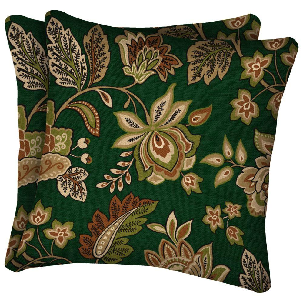 Arden Hunter Green Floral Square Outdoor Throw Pillow-DISCONTINUED