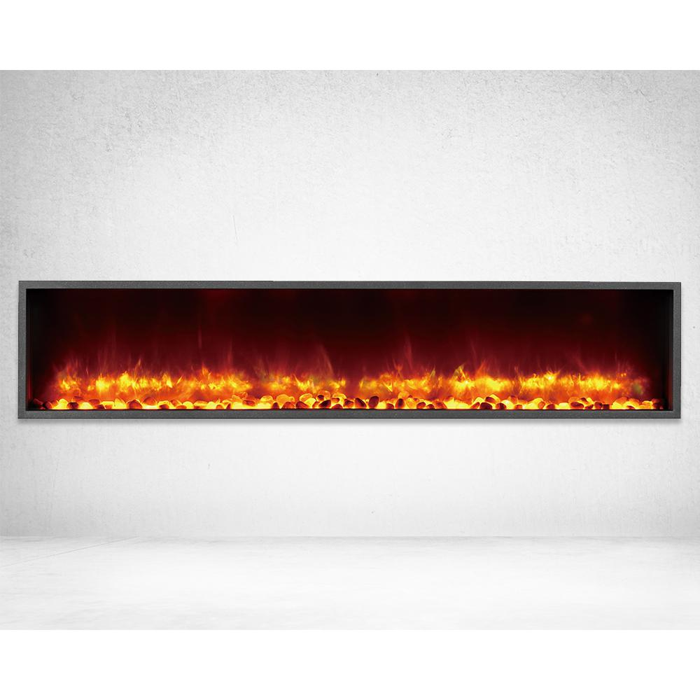 Dynasty Fireplaces 63 In Built Led Electric Fireplace Black Matt Finish