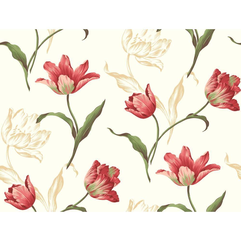 Tulip Wallpaper: York Wallcoverings Tulip Wallpaper-YV8901
