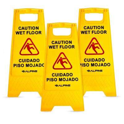 24 in. Yellow Bilingual Caution Wet Floor Sign (3-Pack)