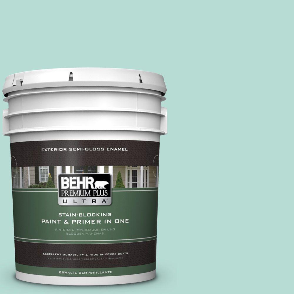 BEHR Premium Plus Ultra 5-gal. #490C-3 Balmy Seas Semi-Gloss Enamel Exterior Paint