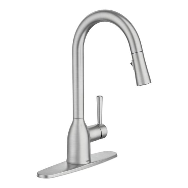 Moen Adler Single Handle Pull Down Sprayer Kitchen Faucet With Power Clean And Reflex In Spot Resist Stainless 87233srs The Home Depot