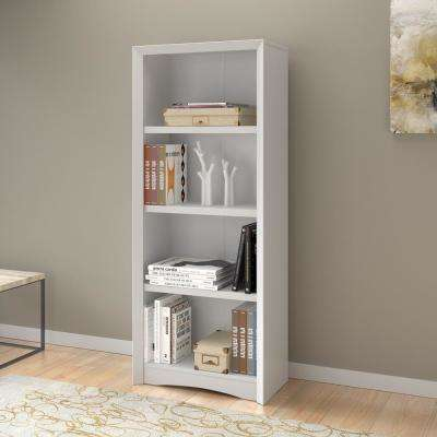 Quadra 59 in. Tall White Faux Woodgrain Bookcase