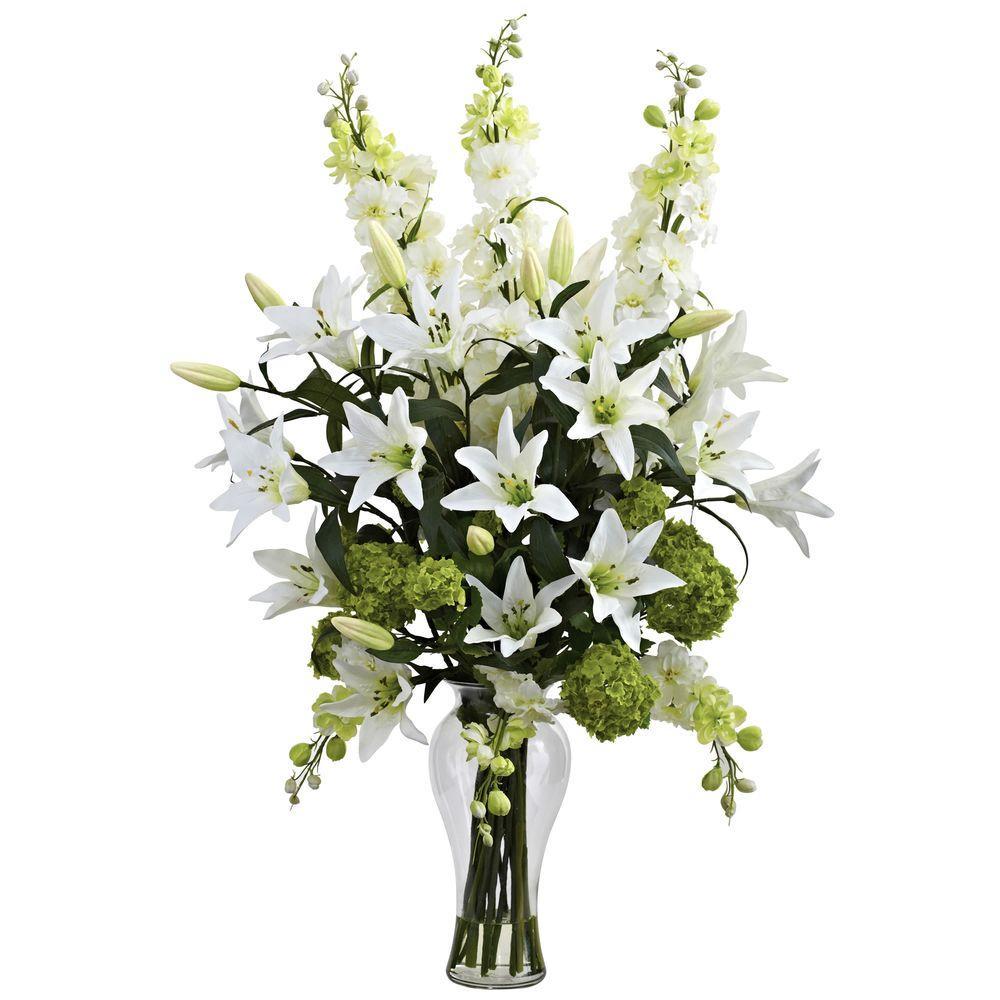 Lily, Delphinium and Hydrangea Silk Arrangement