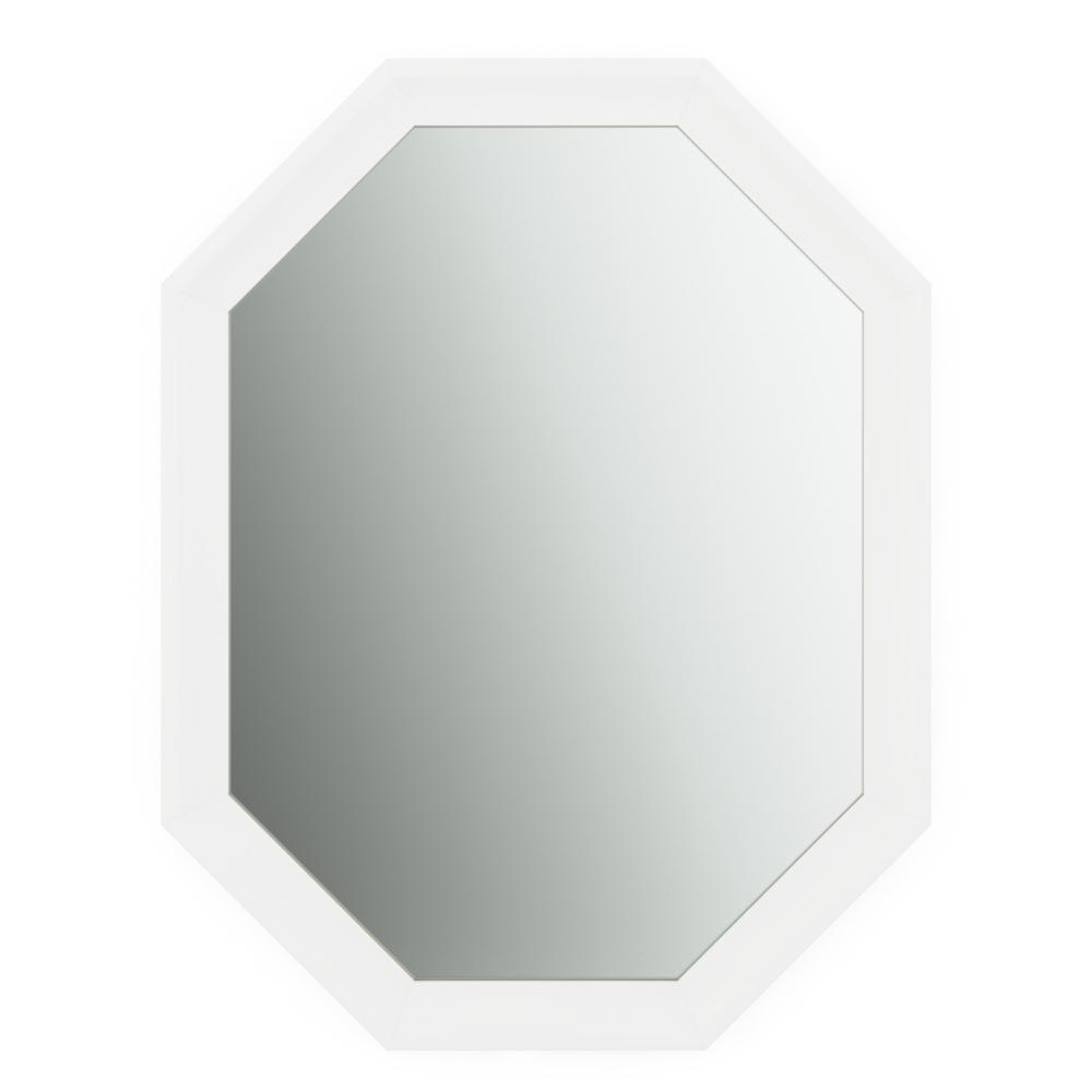 26 in. x 34 in. (M2) Octagonal Framed Mirror with Standard Glass and Easy-Cleat Flush Mount Hardware in Matte White