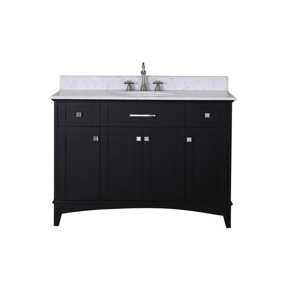 Water Creation Manhattan 48 in. Vanity in Dark Espresso with Marble Vanity Top in Carrara White with White Basin