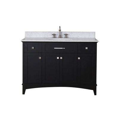 Manhattan 48 in. Vanity in Dark Espresso with Marble Vanity Top in Carrara White with White Basin