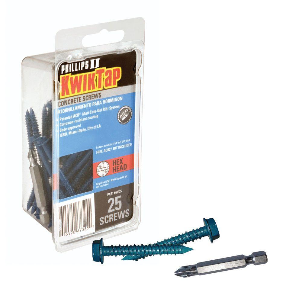 KwikTap 1/4 in. x 1-1/4 in. Hex-Head Concrete Screws (25 per Pack)