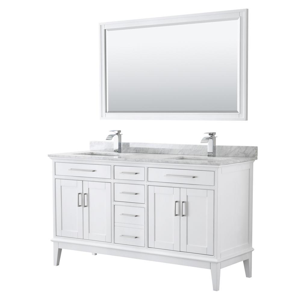 Margate 60 in. W x 22 in. D Bath Vanity in White w/ Marble Vanity Top in White Carrara w/ White Basins & 56 in. Mirror
