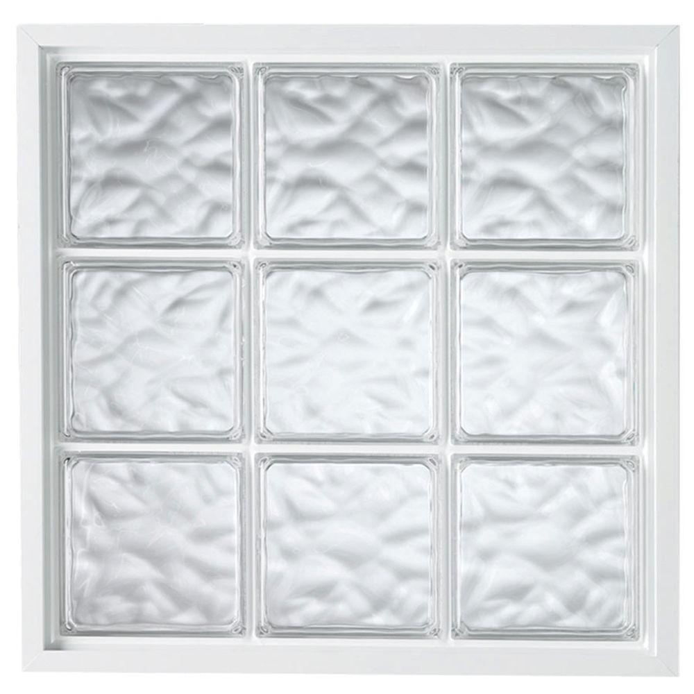 34 in. x 34 in. Acrylic Block Fixed Vinyl Window in