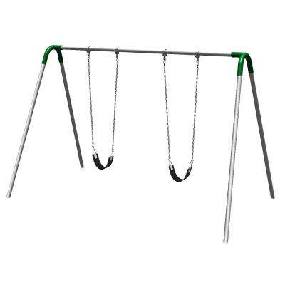 Single Bay Commercial Bipod Swing Set with Strap Seats and Green Yokes