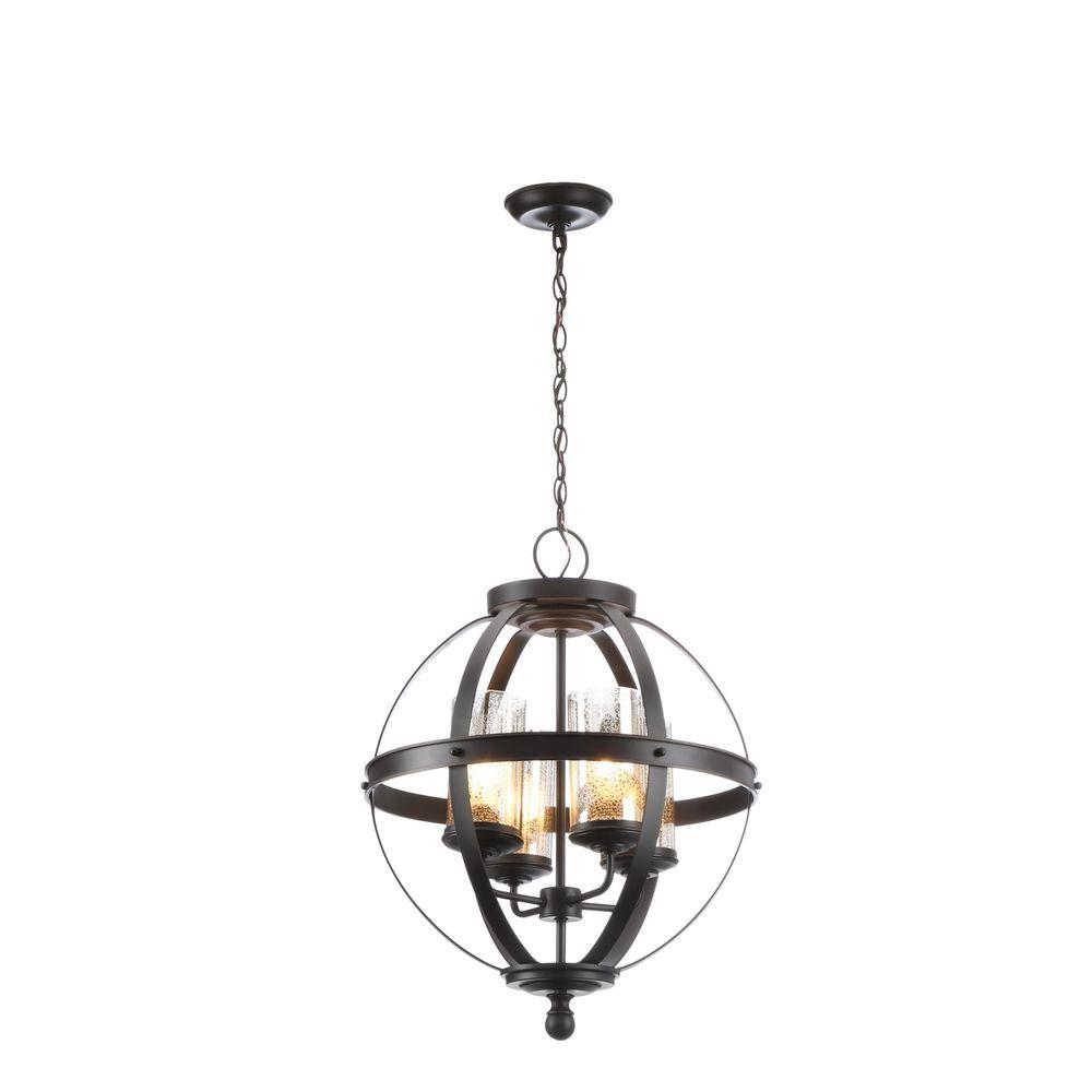 Sea Gull Lighting Sfera 18.5 in. W. 4-Light Autumn Bronze Chandelier with Mercury Glass Shade