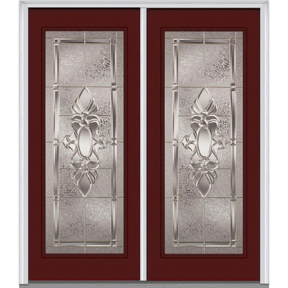 64 in. x 80 in. Heirloom Master Left-Hand Inswing Full Lite Decorative Painted Fiberglass Smooth Prehung Front Door
