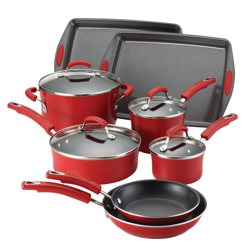 Rachael Ray Porcelain II Nonstick 12-Piece Cookware Set in Red Gradient