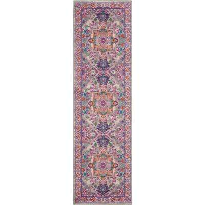 Passion Grey and Pink 2 ft. x 6 ft. Hallway Runner Rug