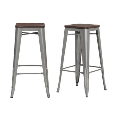 Finwick Gunmetal Gray Metal Backless Bar Stool with Wood Seat (Set of 2) (16.93 in. W x 29.53 in. H)