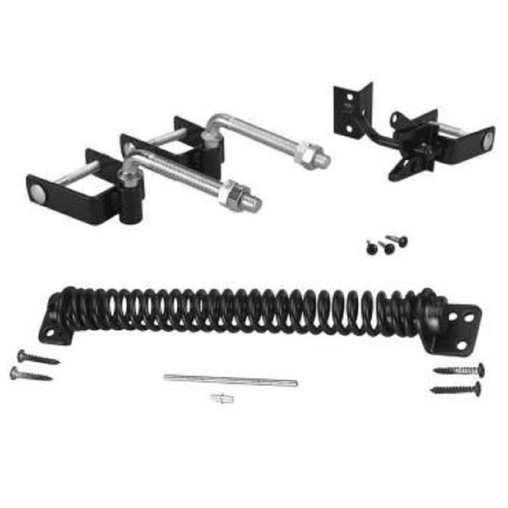 Us door fence black steel deluxe gate hardware kit
