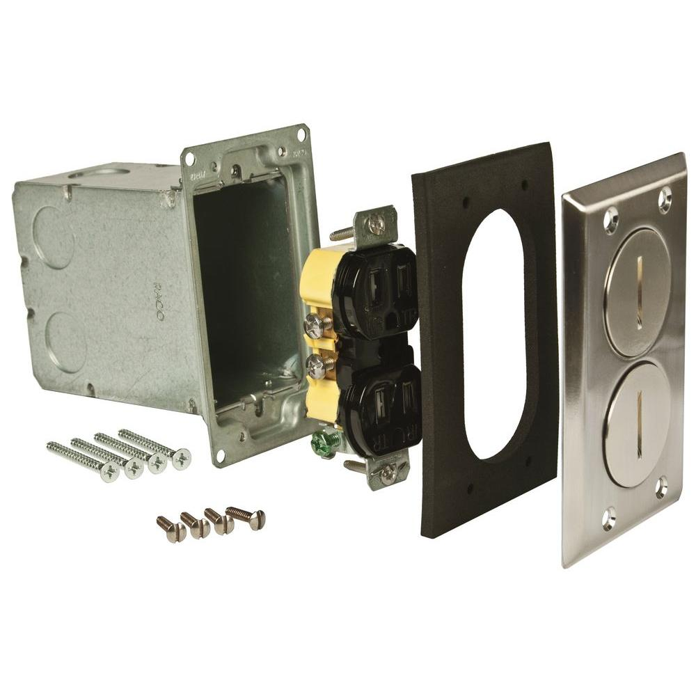 1-Gang Nickel Retangular Floor Box Kit includes 15A 125V TR Receptacle