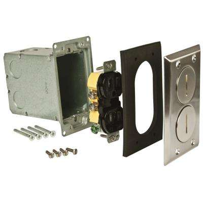 Single-Gang Floor Box Kit, Nickel Finish with 2 Threaded Plugs, 15A TR Duplex Device, and Steel Box