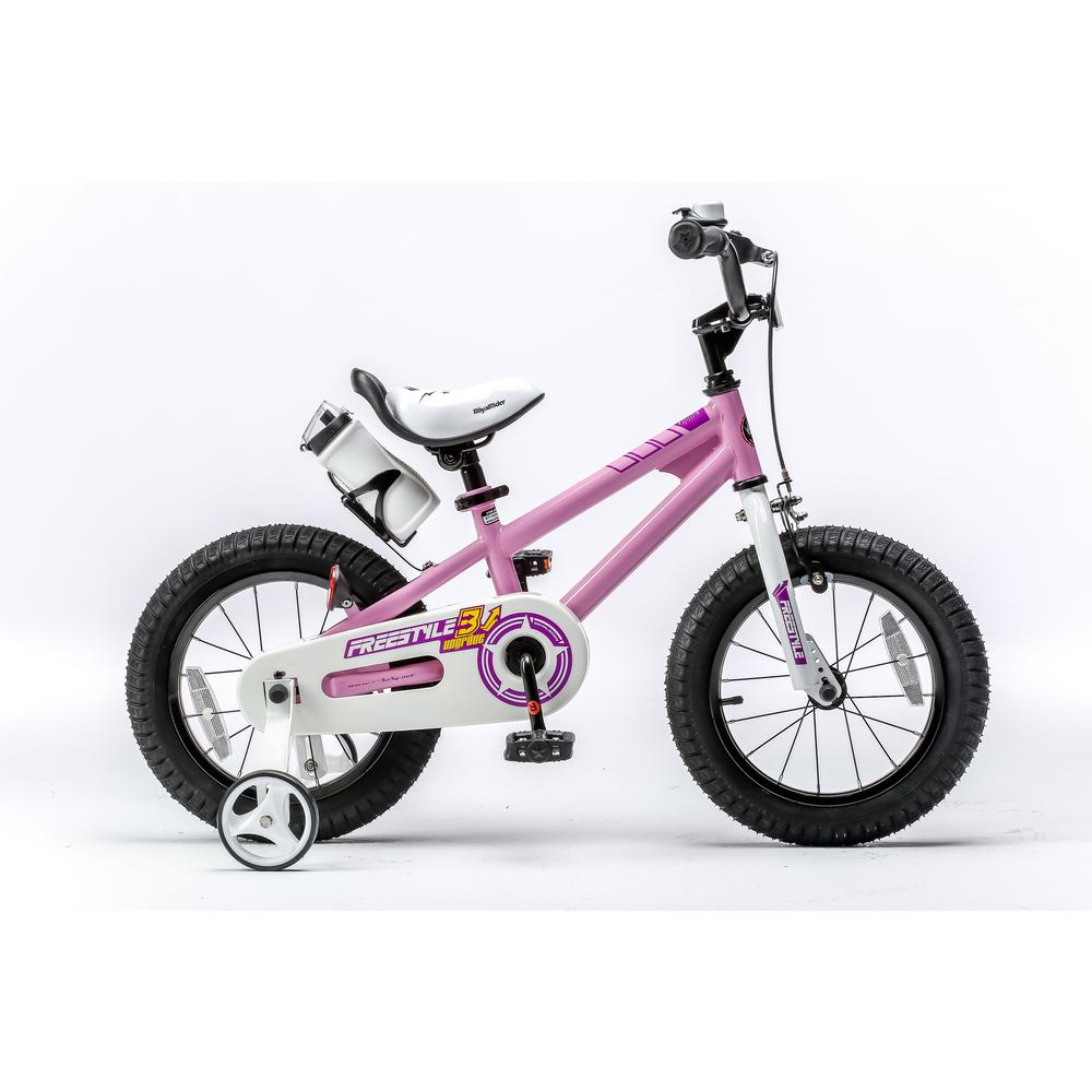 Royalbaby 16 in. Wheels Freestyle BMX Kid's Bike, Boy's Bikes and Girl's Bikes with Training Wheels in Pink