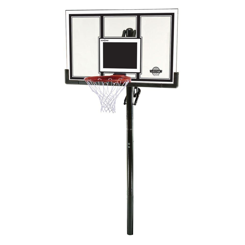 Lifetime 54 in. Shatter Guard Power Lift In-Ground Basketball System