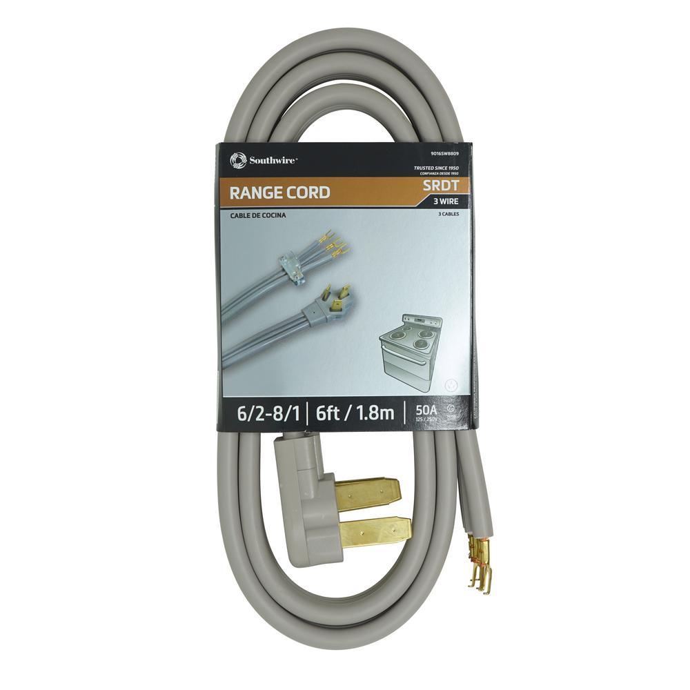 6 ft. 6/2-8/1 Flat Range Cord in Gray