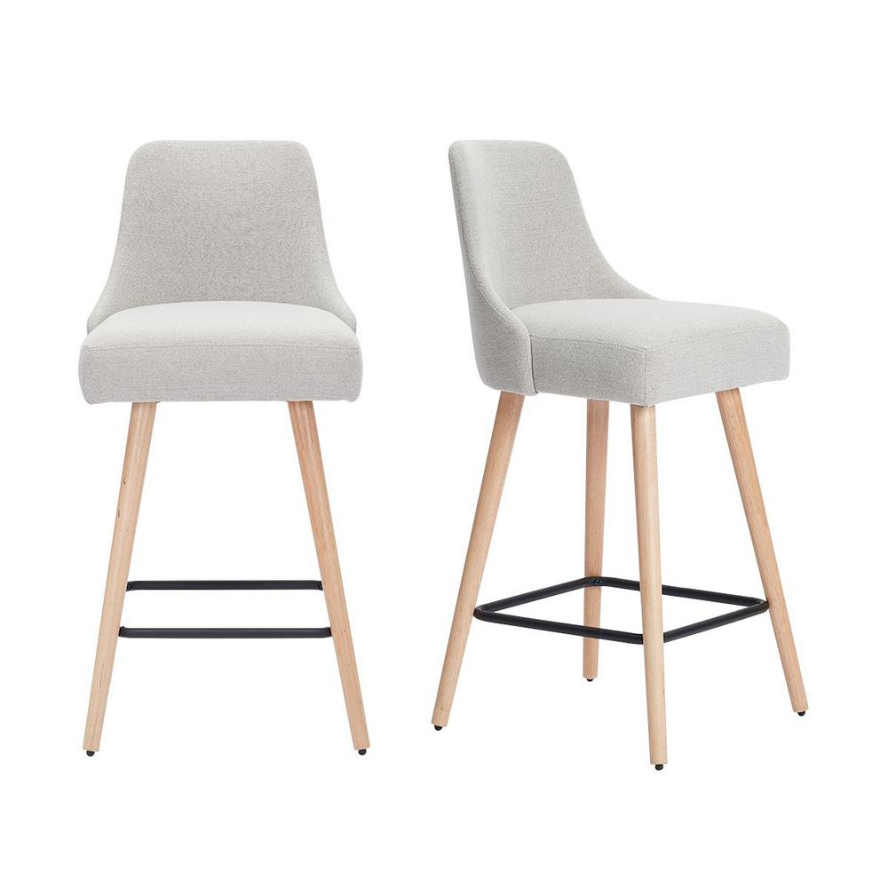 StyleWell Benfield Natural Finish Upholstered Bar Stool with Back and Biscuit Beige Seat (Set of 2) (19.68 in. W x 41.73 in. H), Biscuit Beige/Natural was $279.0 now $167.4 (40.0% off)