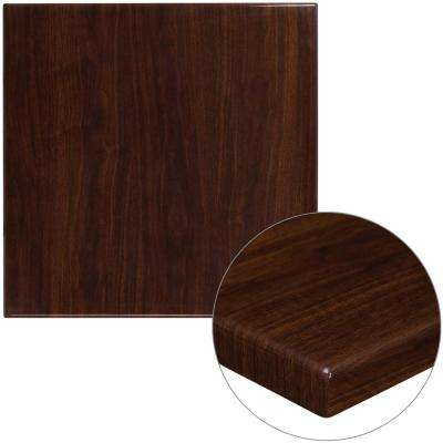 30 in. Square High-Gloss Walnut Resin Table Top with 2 in. Thick Drop-Lip