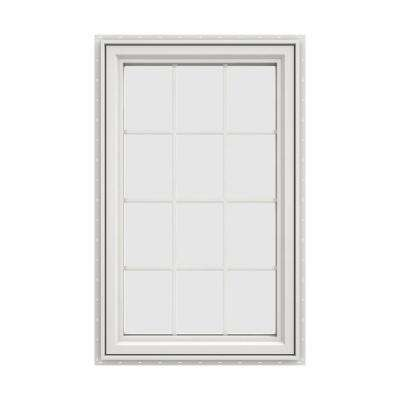 35.5 in. x 47.5 in. V-4500 Series White Vinyl Right-Handed Casement Window with Colonial Grids/Grilles