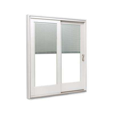 71-1/4 in. x 79-1/2 in. 400 Frenchwood White/Pine Right-Hand Sliding Patio Door with  Built-In Blinds & Nickel Hardware