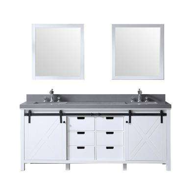 Marsyas 80 in. Double Bath Vanity in White w/ Grey Quartz Top w/ White Square Sinks and 30 in. Mirrors