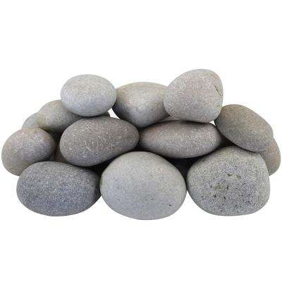 0.25 cu. ft. 20 lbs. 3 in. to 5 in. Light Grey and Tan Beach Pebbles