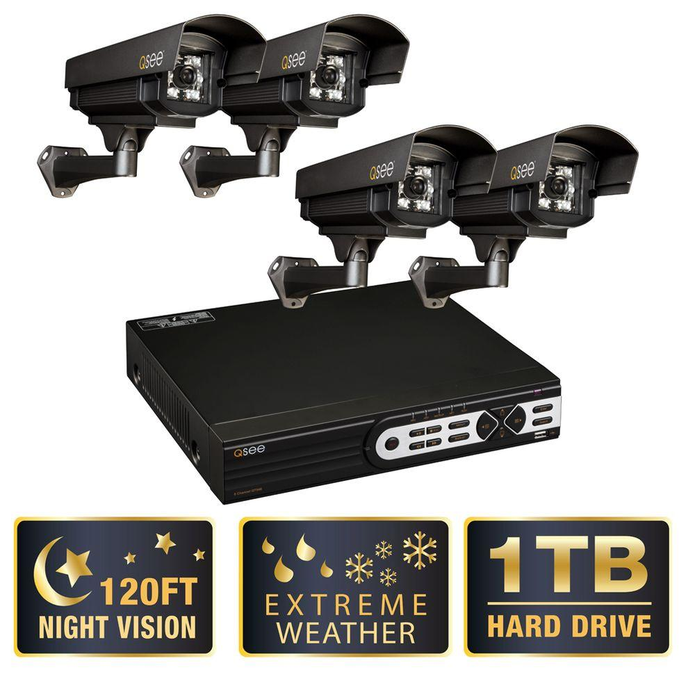 Q-SEE Elite Series 8 CH Full D1 1TB Surveillance System with 4 650 TVL Indoor/Outdoor Extreme Weather Cameras-DISCONTINUED