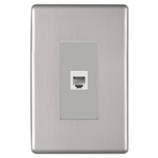 Kentley 1 Gang Phone Steel Wall Plate - Brushed Nickel