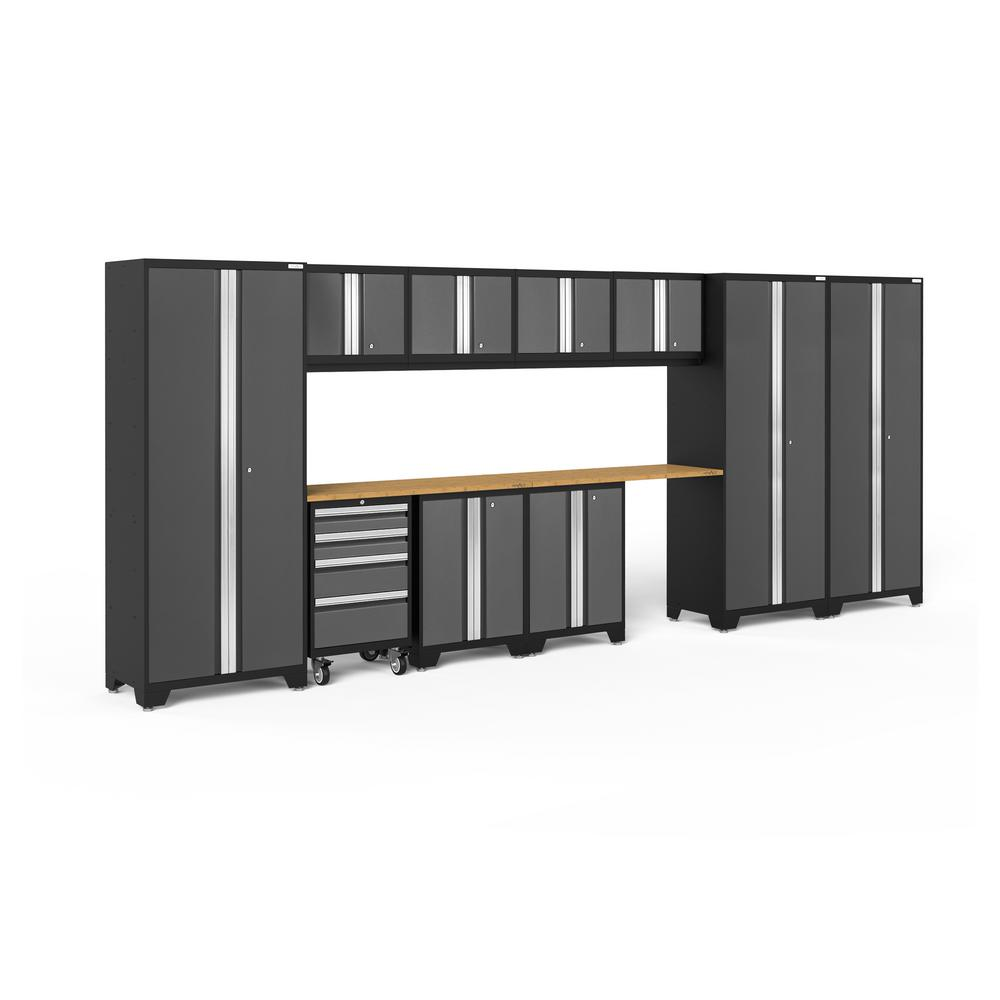 NewAge Products Bold 3.0 77.25 in. H x 186 in. W x 18 in. D 24-Gauge Welded Steel Garage Cabinet Set in Gray (12-Piece)