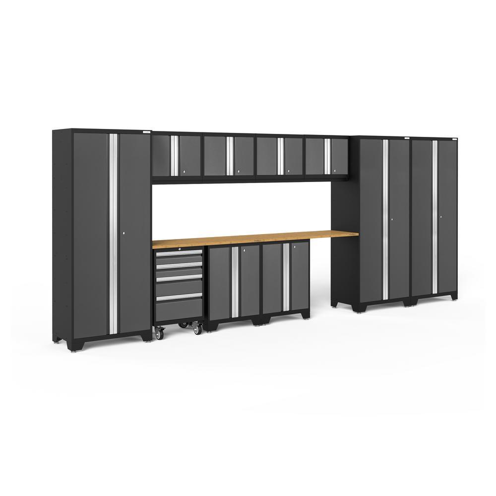 Bold Series 3.0 186 in. W x 77.25 in. H x 18 in. D 24-Gauge Welded Steel Garage Cabinet Set in Gray (12-Piece)