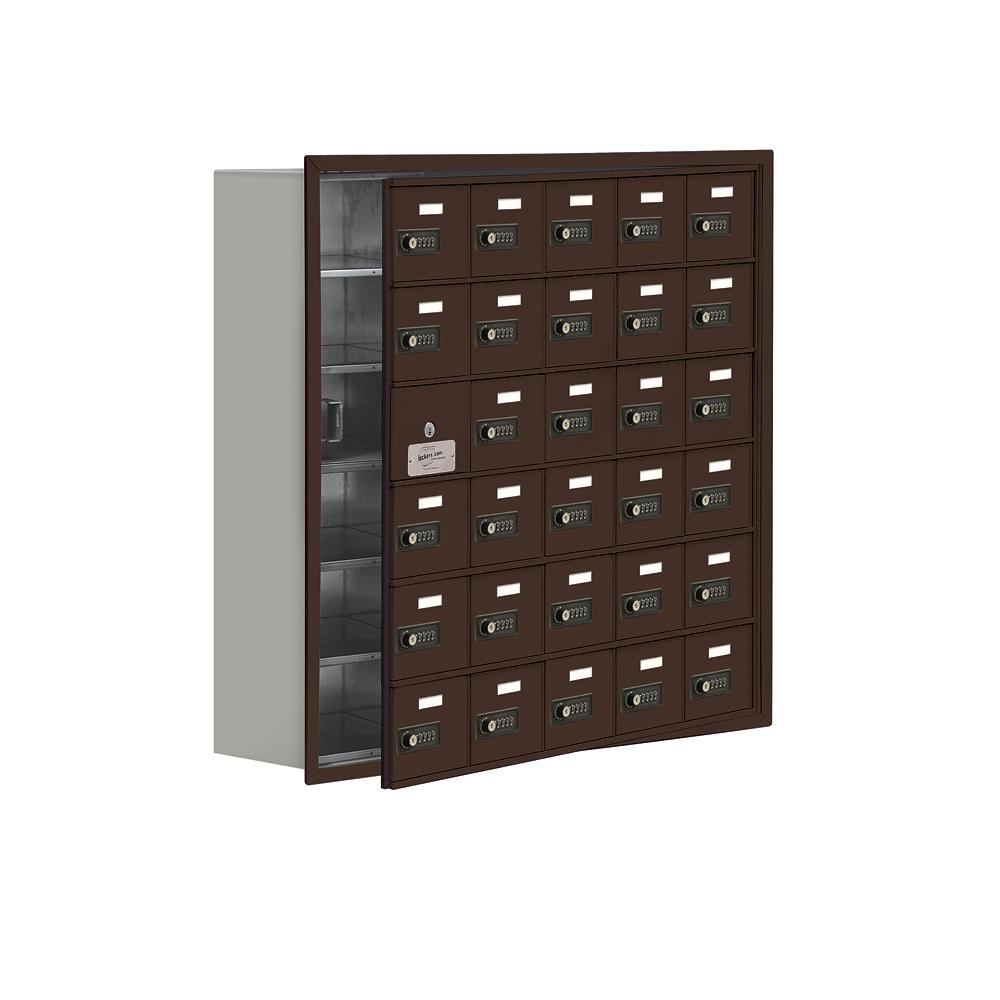 19100 Series 35.75 in. W x 35.25 in. H x 8.75 in. D 29 Doors Cell Phone Locker Recess Mount Resettable Lock in Bronze