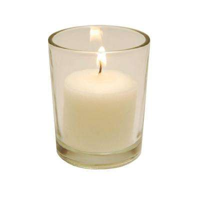 72-Count 10-Hour Votive Candles and 12 Clear Glass Holders