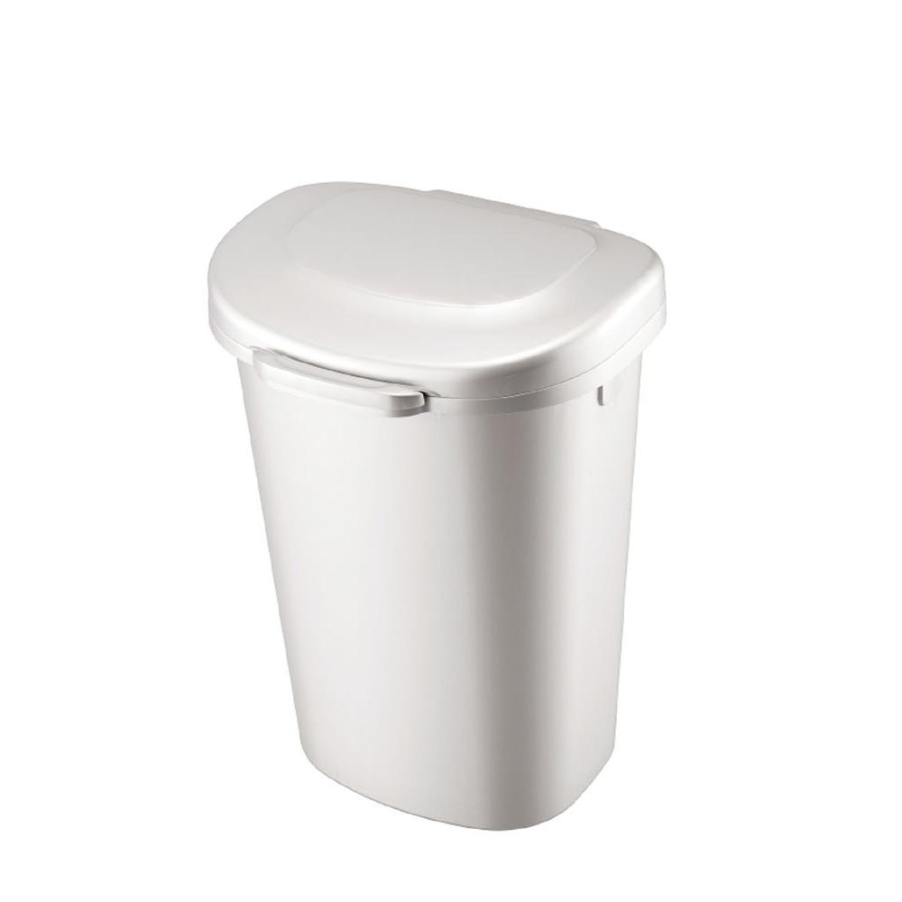 Rubbermaid 13 Gal White Touch Top Trash Can 1843025 The