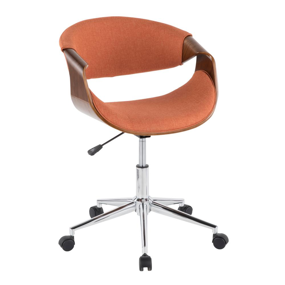 Lumisource Curvo Orange and Walnut Office Chair  sc 1 st  The Home Depot & Lumisource Curvo Orange and Walnut Office Chair-OFC-CURVO WL+O - The ...
