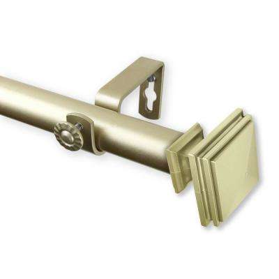Bedpost 66 in. - 120 in. Curtain Rod in Light Gold