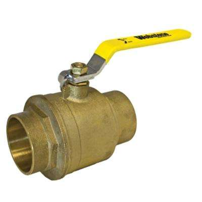 Standard Full Port Forged Brass Ball Valve with Chrome Plated Lever Handle - 2 in. Sweat