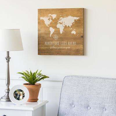 16 in. x 16 in. World Map Wooden Wall Art